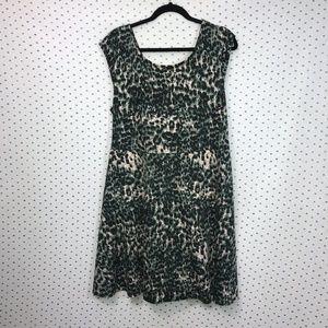 Forever 21+ Green & Black Animal Print Bow Dress